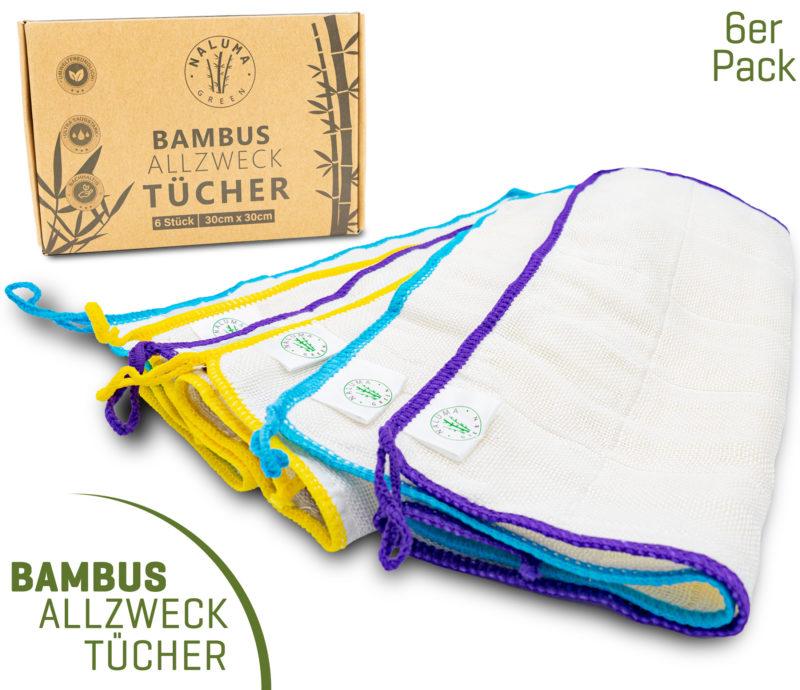 Nachhaltige Bambus Tücher | 6 Stück | 30x30cm | waschbar | Allzwecktücher