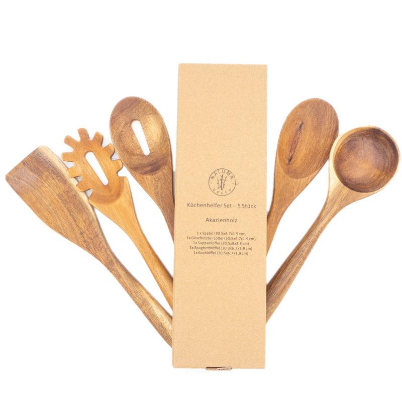 Küchenutensilien Set - 5-teilig aus hochwertigem Akazienholz